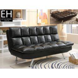 Futón Contemporáneo Ajustable, Futón Moderno en Piel color Negro.