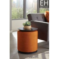 Mesa Lateral Estilo Moderno Color Naranja Convierte Taburete