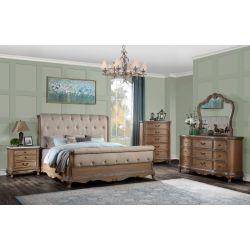 Recamara Hermes, clásica y elegante, madera y tela
