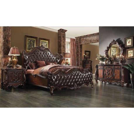 Recamara Didier, cama elegante en madera y Cuero