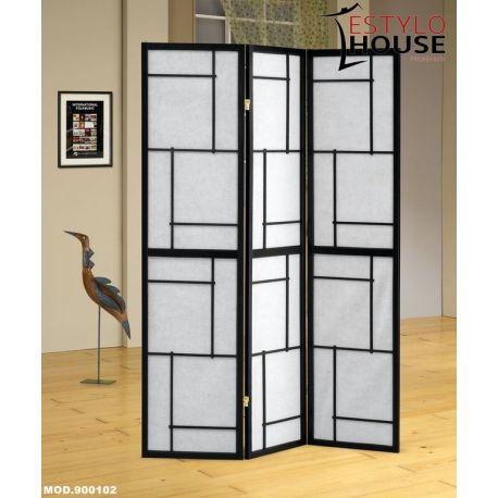 Biombo de 3 paneles  Negro / Blanco 1800204