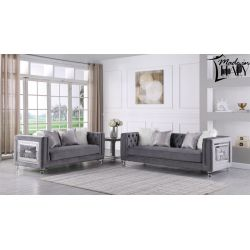SALA COLECCIÓN ITALIANA SOFÁ Y LOVE SEAT MILEY COLOR GRIS